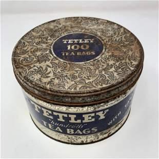 Vintage Tetley tea 100 tea bags tin with lid