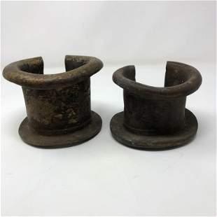 ANTIQUE (2)18th CENTURY SLAVE SHACKLES