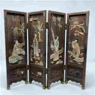 Early 20th century ANTIQUE China ornate table screen