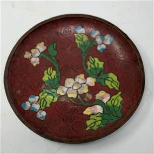 Antique Cloisonné Chinese dish floral design