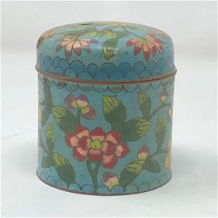 Antique Chinese cloisonné round box with lid 3 x 3