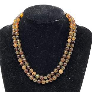 Beaded Amber Long Necklace / MYANMAR (BURMESE) REGION