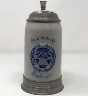 Vintage German Beer Stein 1 L. BROUMEISTERIN Hoch lebe