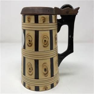 Vintage Porcelein BEER STEIN wooden lid