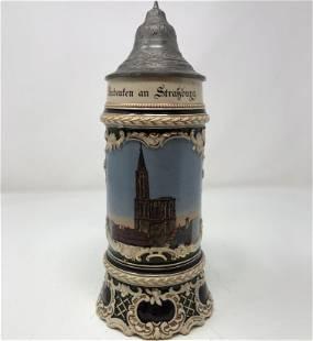 Vintage German porcelein BEER STEIN pewter lid/handle