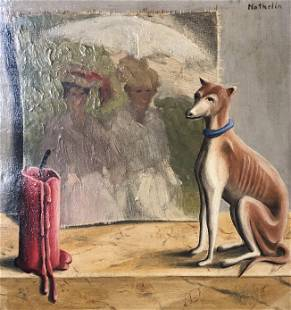 Mathelin signed oil painting W/ Dog depiction