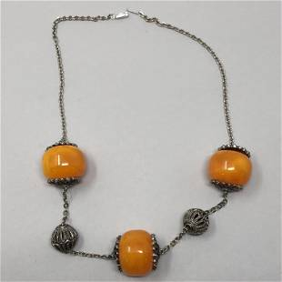 Amber toned big bead & silvery globes necklace