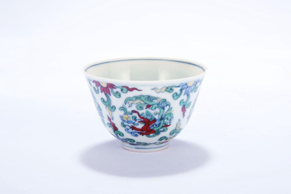 Chinese Doucai porcelain dragon cup, Chenghua mark.