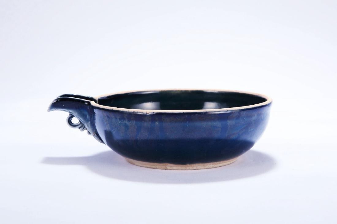 Chinese powder blue porcelain bowl with spout, Yuan