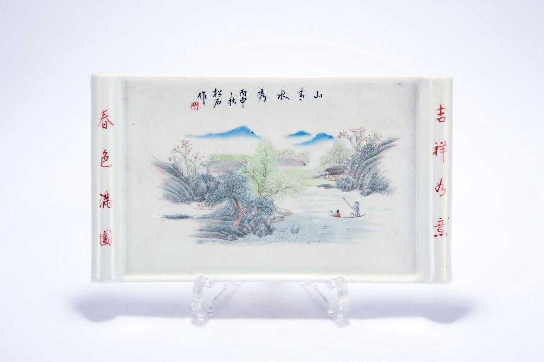 Chinese famille rose porcelain panel.
