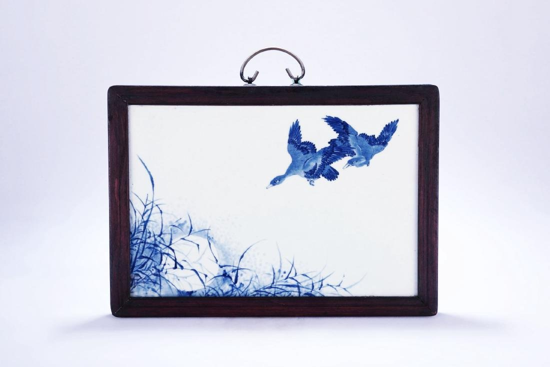 Chinese blue and white porcelain panel.