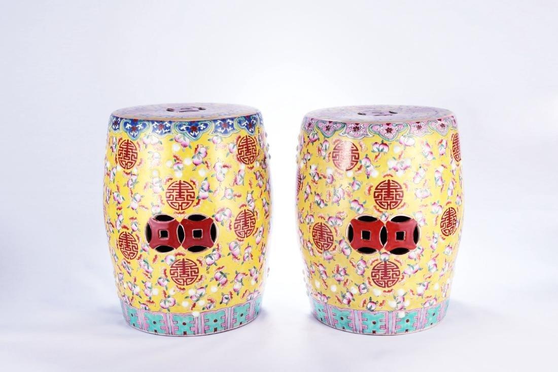 Pair Chinese famille rose porcelain garden seats.