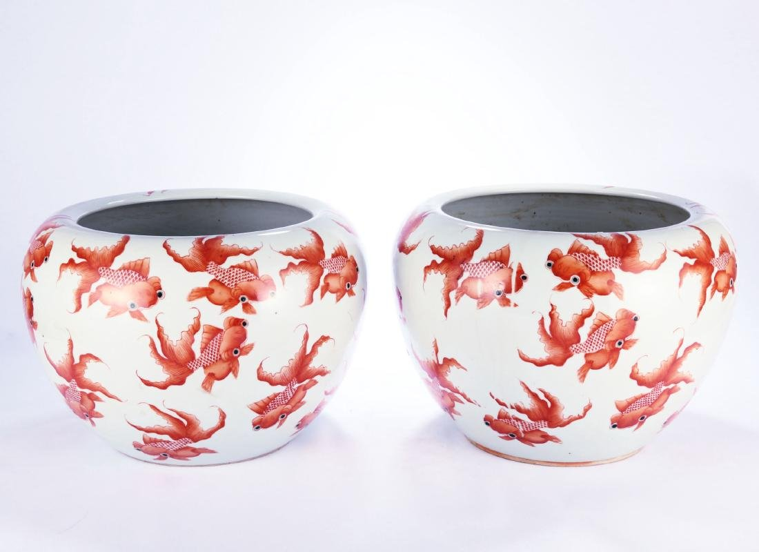 Pair Chinese porcelain fish bowl with iron red gold