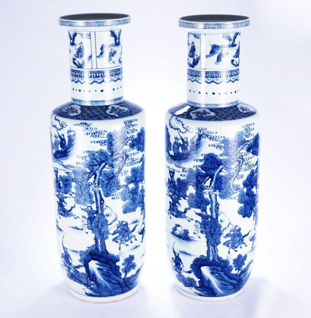 Chinese blue and white porcelain vases, Kangxi mark.
