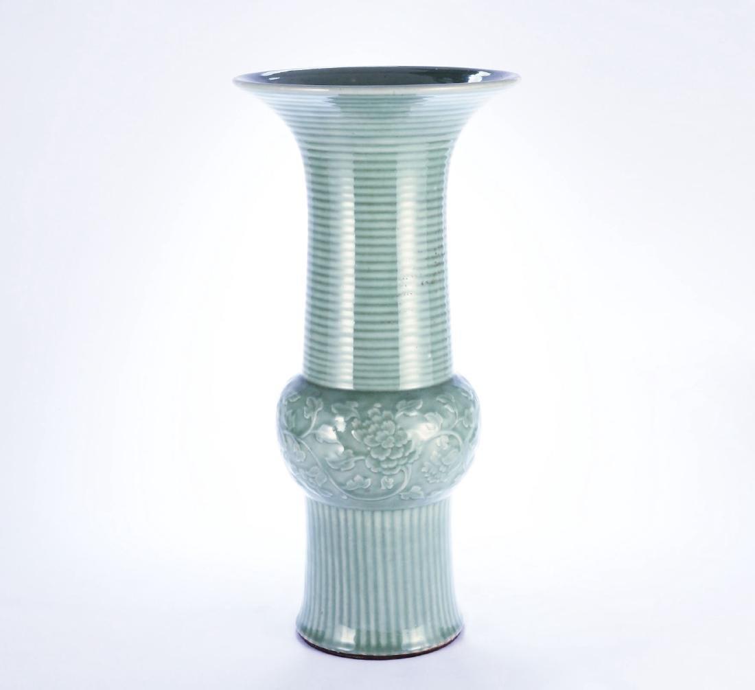 Chinese Longquan celadon porcelain vase.