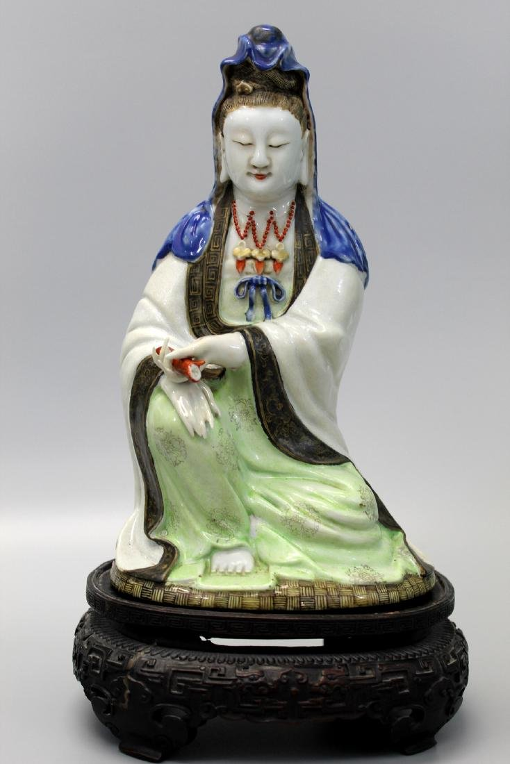 Chinese famille rose porcelain Guanyin, 18th Century.