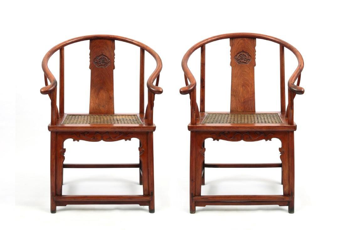 "Pair Chinese Huanghuali arm chairs ""Quan Yi""."