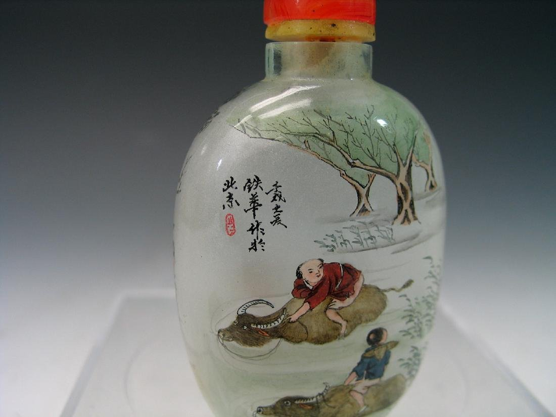 Chinese reverse glass painted snuff bottle. - 3