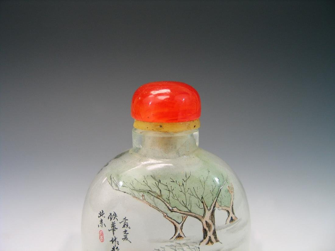 Chinese reverse glass painted snuff bottle. - 4