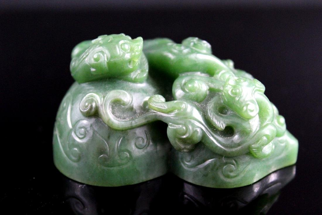 Chinese spinach jade seal. - 2