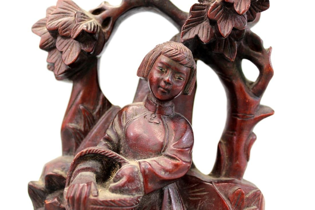 Chinese carved hardwood statue. - 2