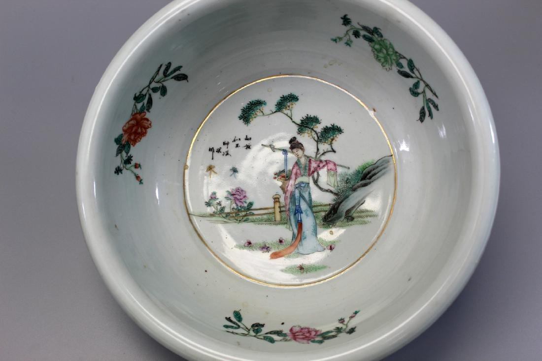 Chinese famille rose porcelain basin.