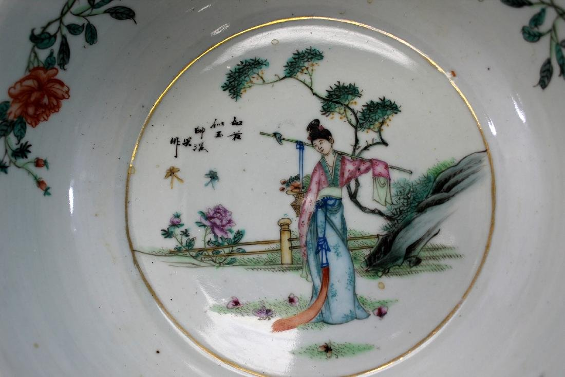 Chinese famille rose porcelain basin. - 2