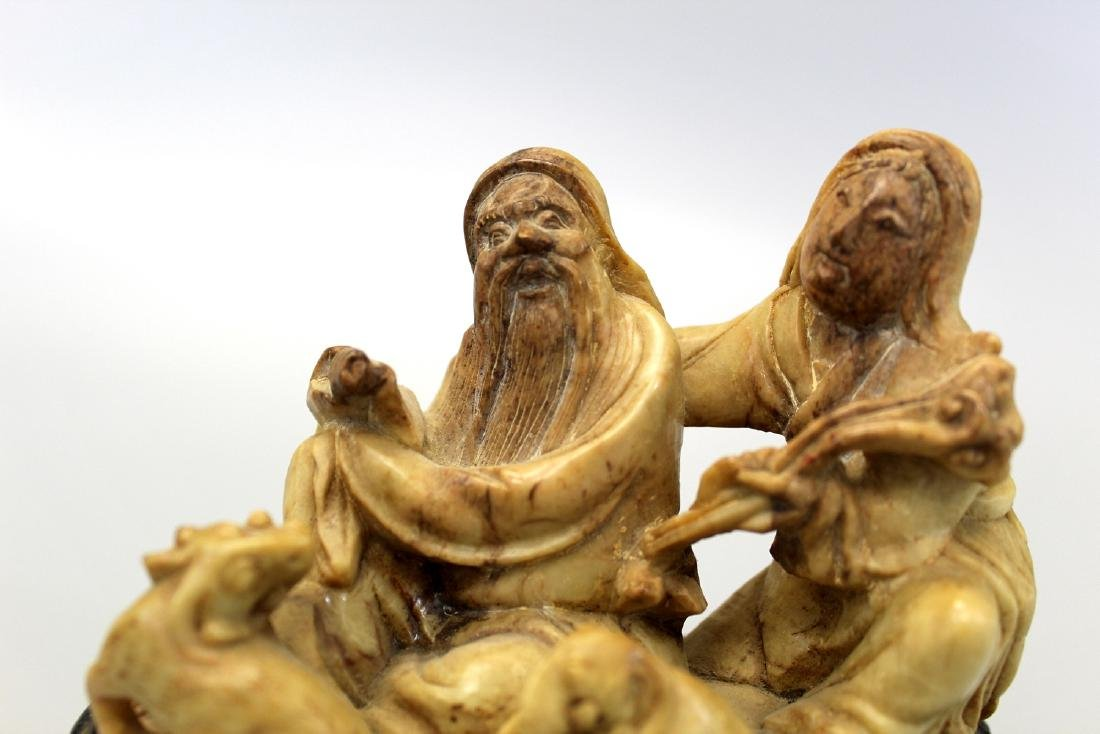 Chinese soapstone carving with wood stand. - 2
