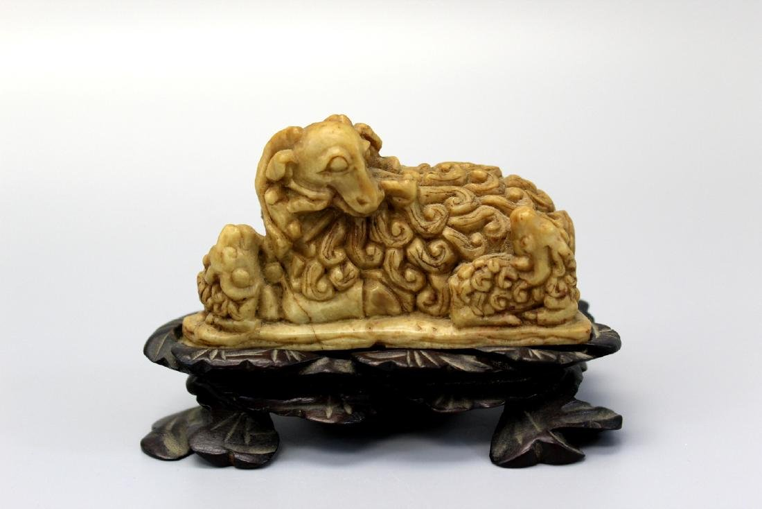 Chinese soapstone carving of  three sheep.