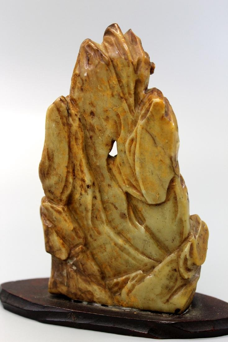 Chinese soapstone carving with wood stand. - 3