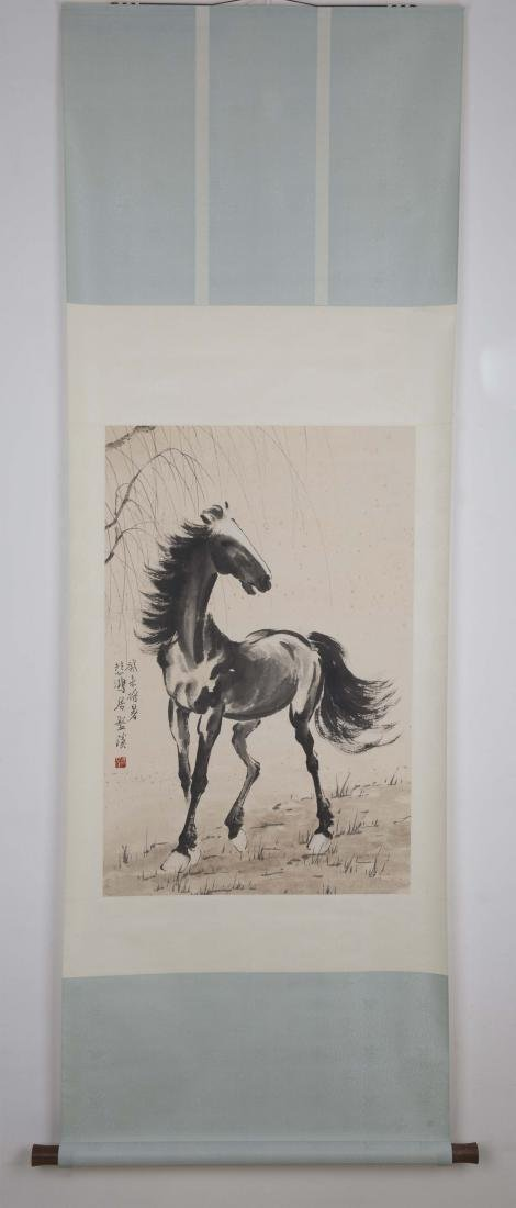 Chinese ink painting paper scroll of a horse, signed.