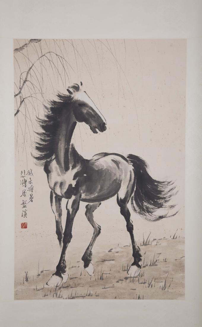 Chinese ink painting paper scroll of a horse, signed. - 2