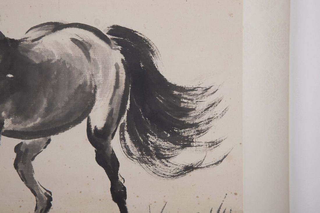 Chinese ink painting paper scroll of a horse, signed. - 3
