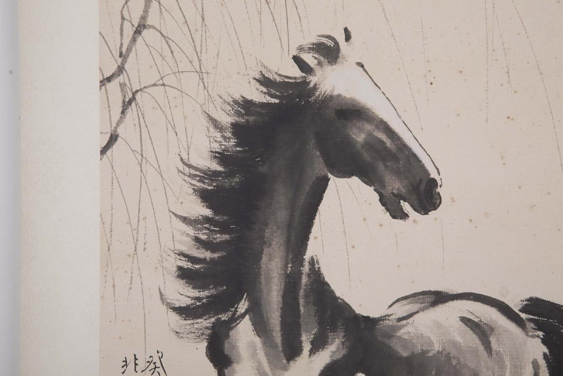 Chinese ink painting paper scroll of a horse, signed. - 4
