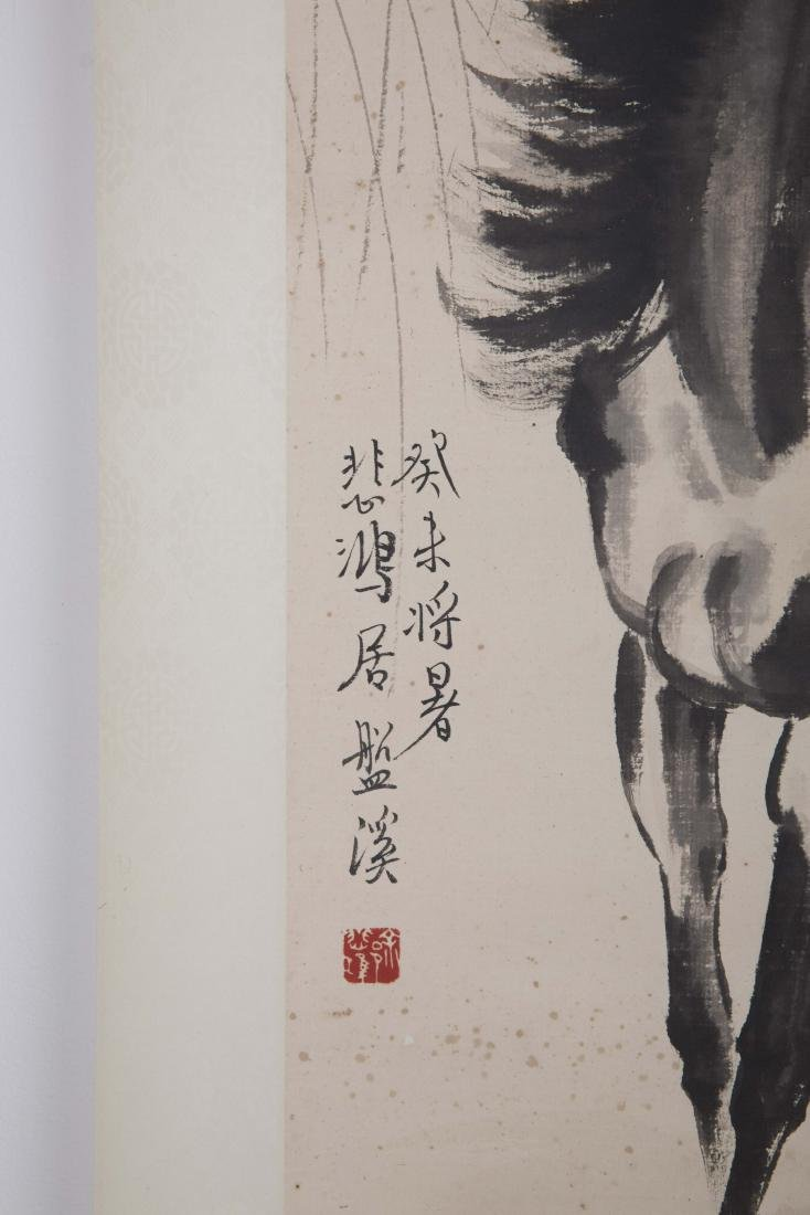 Chinese ink painting paper scroll of a horse, signed. - 5