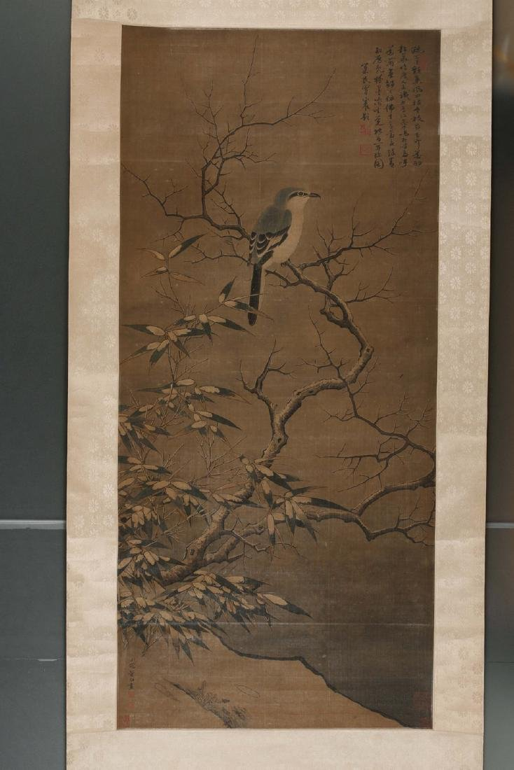 Chinese water and ink color painting on silk scroll,
