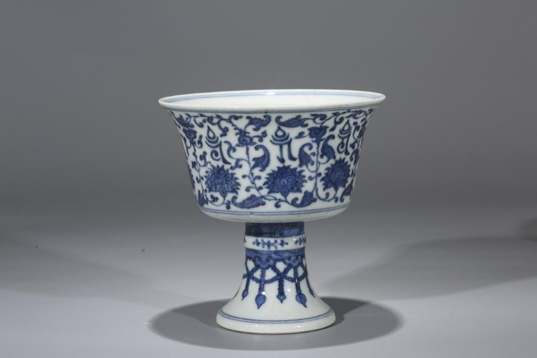 Chinese blue and white porcelain stem cup.