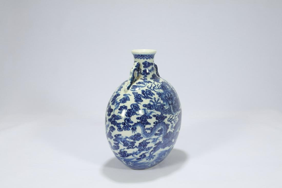 Chinese blue and white moon flask porcelain vase. - 2