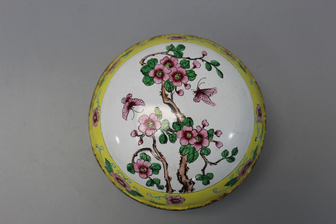 Chinese enameled brass box.