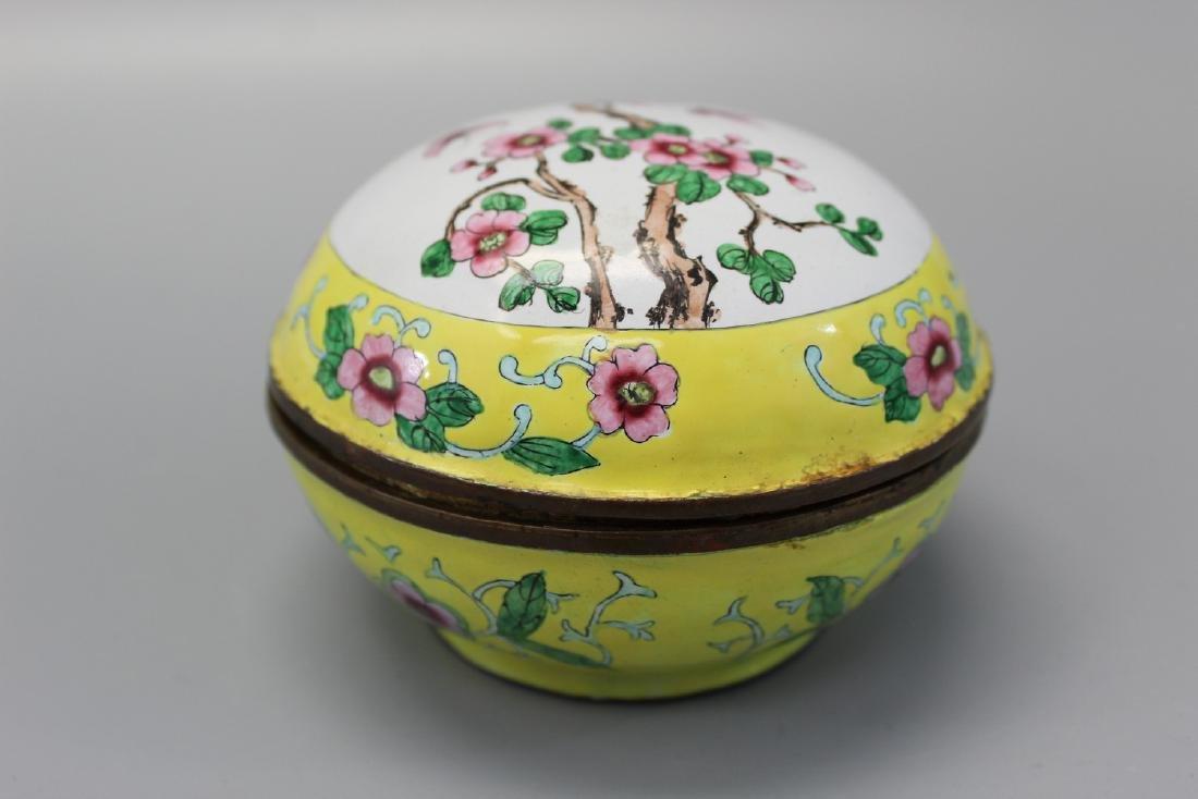 Chinese enameled brass box. - 2