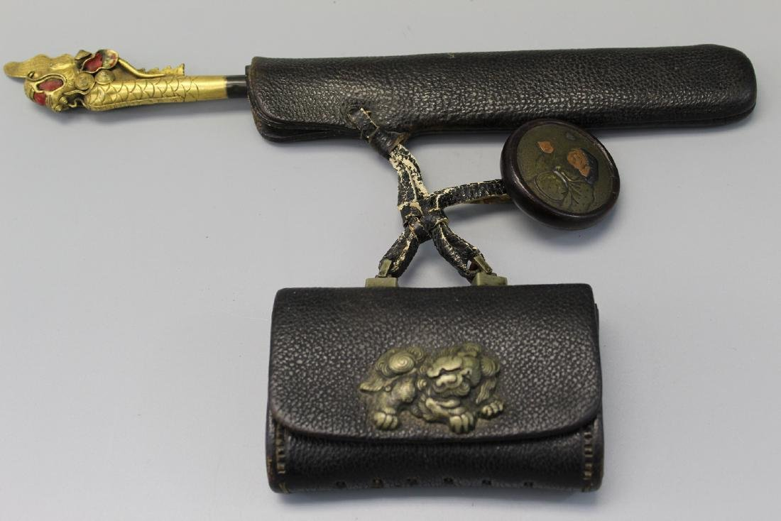 Japanese tobacco or money pouch, Meiji era