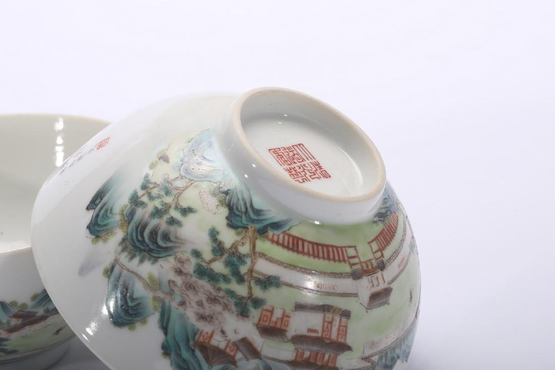 Pair of Chinese famille rose porcelain bowls, Daoguang - 4