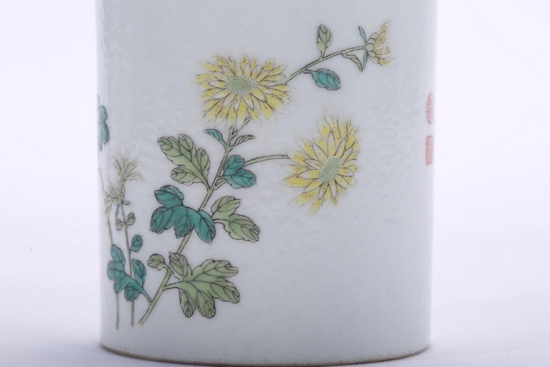 Chinese famille rose porcelain brush pot, Qianlong - 6