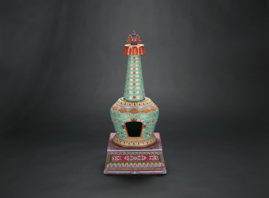 Chinese famille rose porcelain tower.