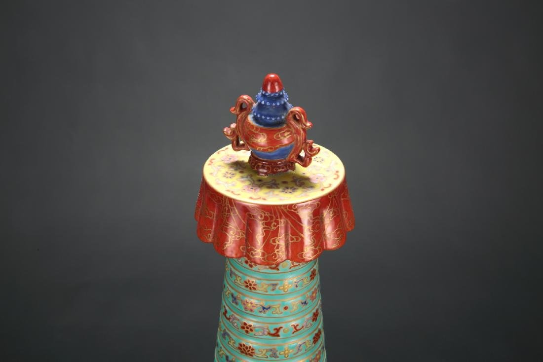 Chinese famille rose porcelain tower. - 2