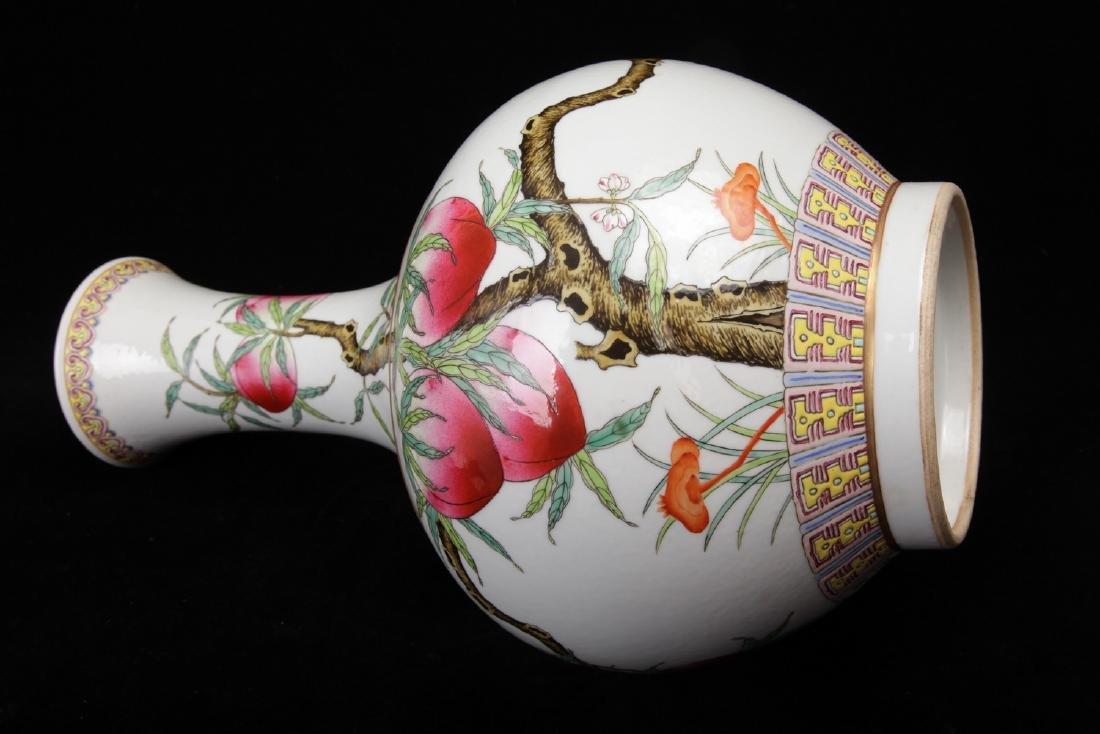 "Chinese ""Nine Peaches"" famille rose porcelain vase, - 2"