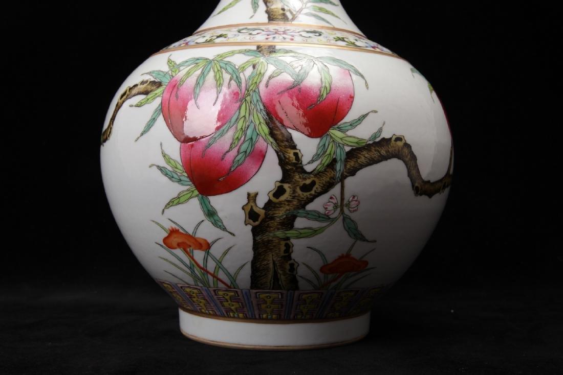 "Chinese ""Nine Peaches"" famille rose porcelain vase, - 3"