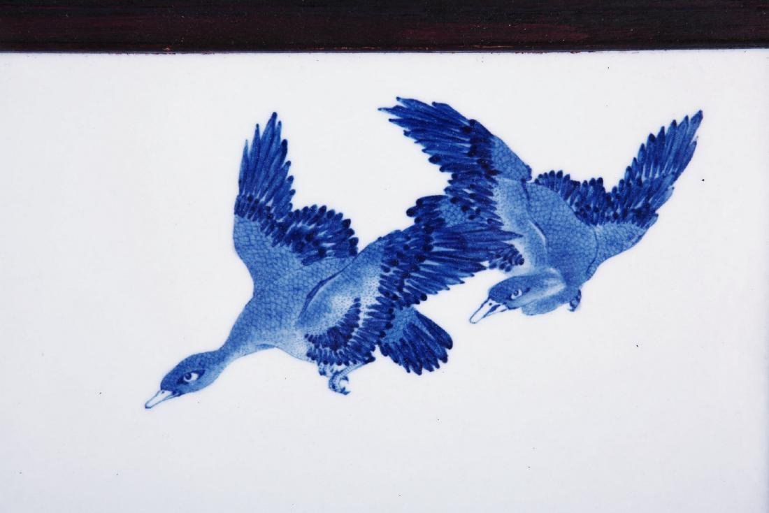 Chinese blue and white porcelain panel. - 4