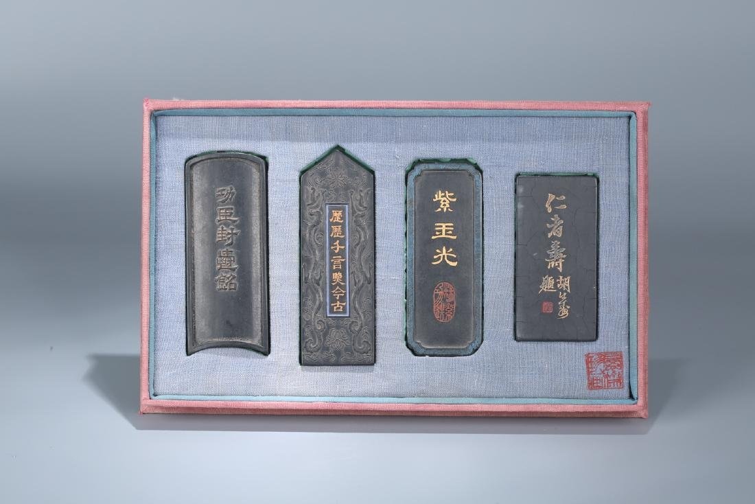 Set of four Chinese ink stones.