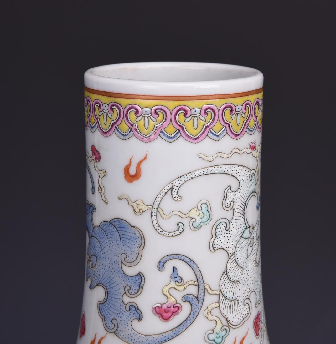 Chinese famille rose porcelain vase, Guangxu mark. - 3